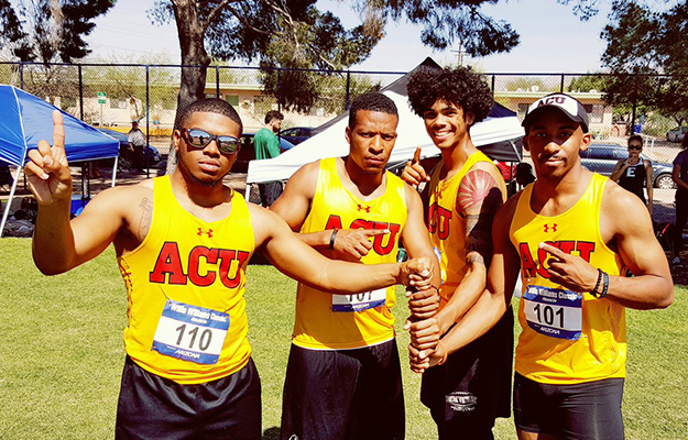 4x100 ACU men record holders (l-r): Morris, Hughes, Murphy, and Avance