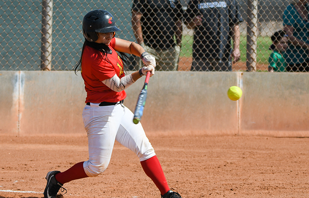 Sianna Gomez tripled, doubled, and singled three times on Thursday (Photo by Keith Moody)
