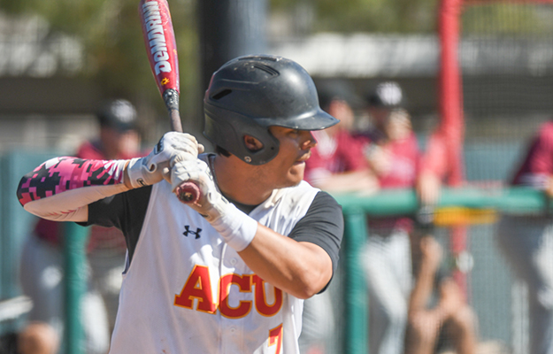 Jacob Rodriguez homered to cap the 17 runs of ACU (Photo by Keith Moody)