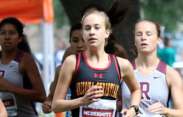 Olivia McDermitt claimed ninth in her collegiate debut (Photo by Redlands Sports Info)