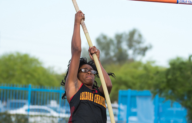 Shyama Moss tied her school record in the pole vault (Photo by Keith Moody)
