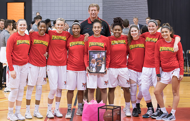 Firestorm honoring Courtney Leach before her final home game (Photo- Keith Moody)
