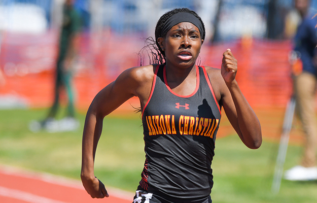 Lesha Turner set a new ACU record in the 100m hurdles (Photo by Keith Moody)